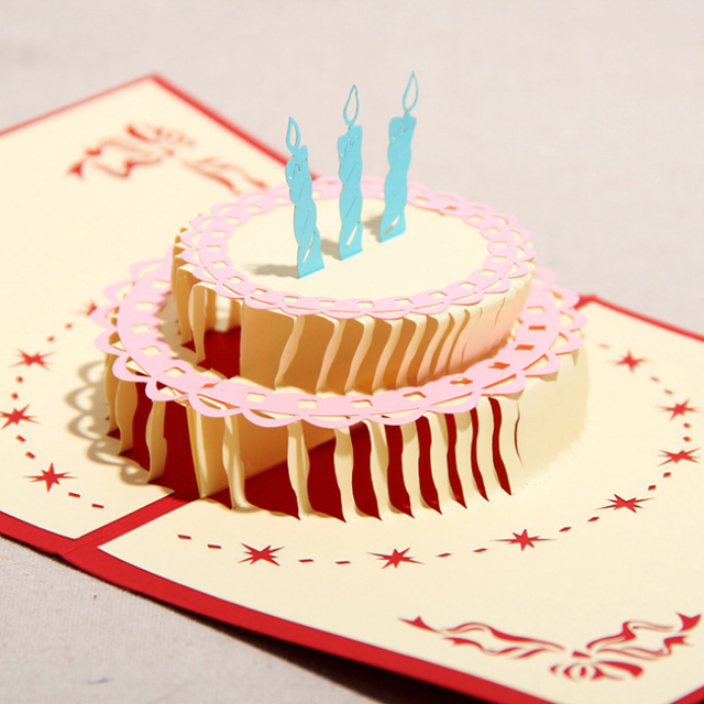 3d handmade three dimensional diy birthday cake greeting card paper