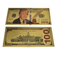 New Desian USA Donald John Trump 100 Dollar Gold Colorful Foil Banknote Fake Money