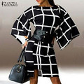 Новое Прибытие Осень Платье 2016 ZANZEA Женская Мода Flare Рукавом Плед Печати Свободно Платье Сексуальная О Шея Мини Vestidos Платья