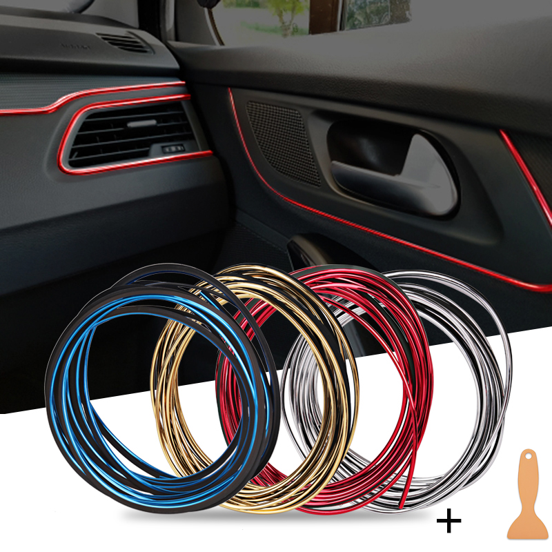 Universal 5m Car Interior Decoration Strips Flexible Trim Moulding Interior Decorative Car Moulding Car Styling For <font><b>Audi</b></font> <font><b>A4</b></font> image