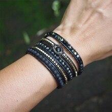 Для мужчин и женщин богемный черный микс из натурального камня вышивка бисером 5 Обертывания браслет ювелирные изделия