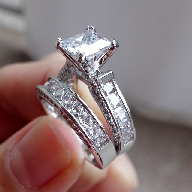 Misananryne Cz Nice Shipping High Quality Crystal Couple Rings For