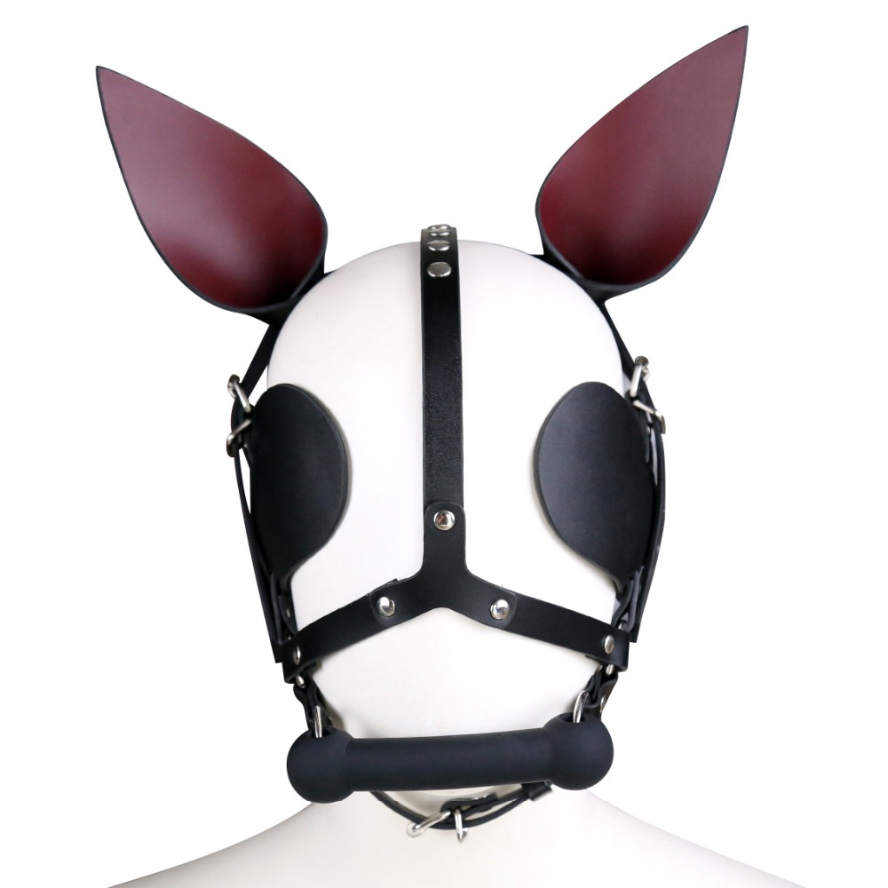 Genuine Leather dog headgear hood mask bone gag head harness bondage restraint adult cosplay game sex toy for women men coupleGenuine Leather dog headgear hood mask bone gag head harness bondage restraint adult cosplay game sex toy for women men couple