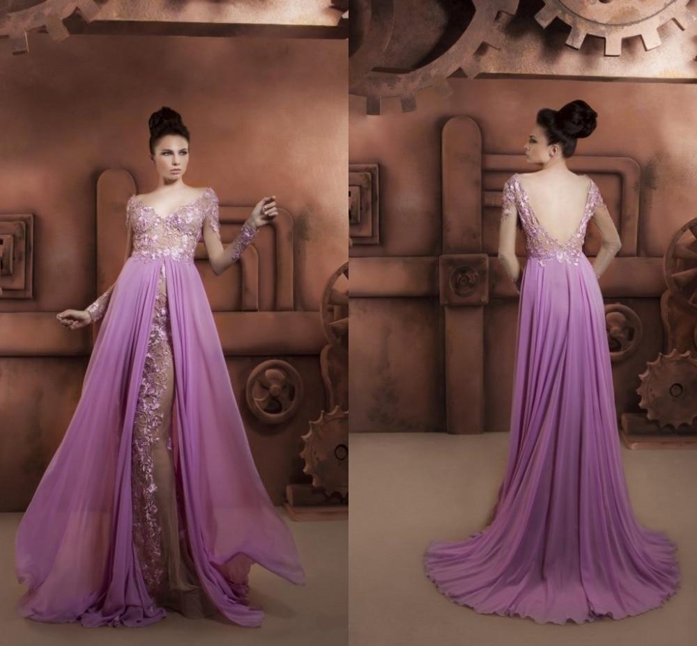 Por encargo 2015 vestidos lila de noche con manga larga