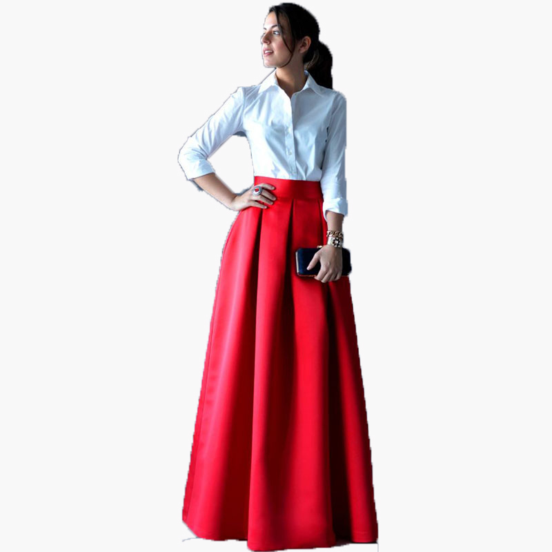 Exquisite Red Long Skirts Fashion Women High Waist Invisible Zipper Floor Length Pleated Party Skirts Custom Made Maxi Saia