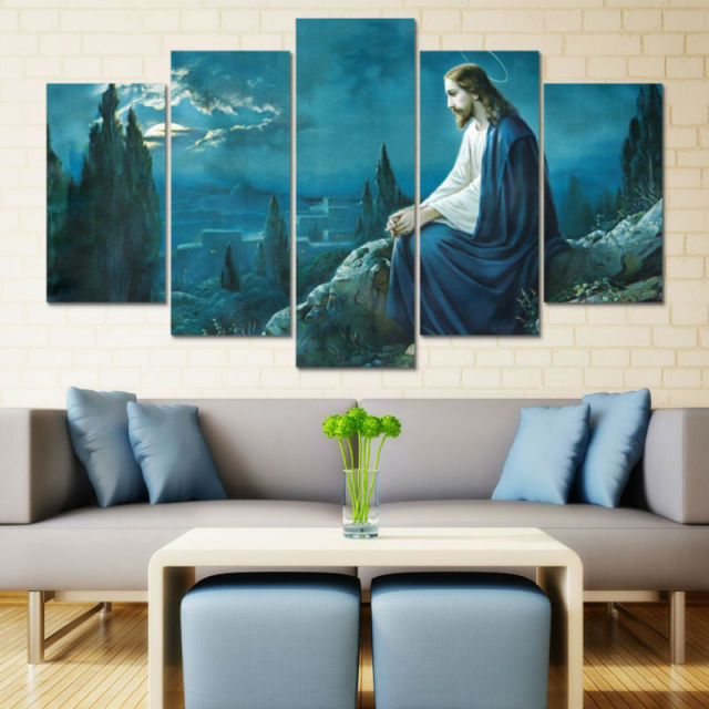 5 Panel Large Hd Printed Canvas Oil Painting Jesus Poster Canvas