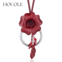 HOCOLE Geniune Leather Flower Leaf Pendant Necklaces Vintage Women Long Tassel Big Choker Necklace Statement Jewelry Collares