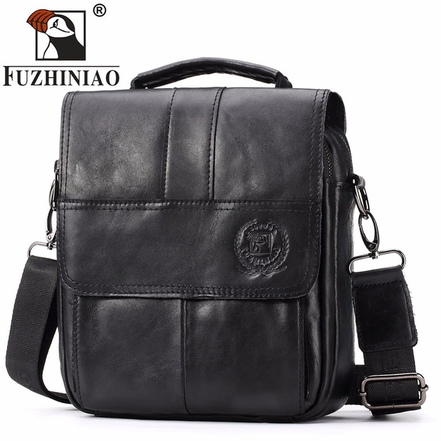 Fuzhiniao Famous Brand New Fashion Man Genuine Leather Messenger Bag Male Cross Body Shoulder Business Handbag For Men Tote Bags