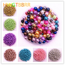NEW 50pcs/lot  8mm Imitation Pearls Round Pearl Spacer Beads Loose DIY Jewelry Making Bracelet Necklace Earrings Accessories