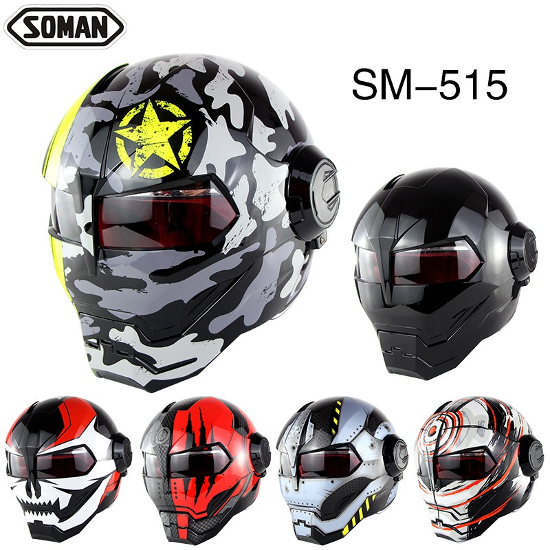(1pc&13colors) New Arrival Ironman Flip Up Helmet ABS Casque Casco Capacete Motorcycle Motocross Full Face Helmets Brand SM-515 2017 new knight protection gxt flip up motorcycle helmet g902 undrape face motorbike helmets made of abs and anti fogging lens