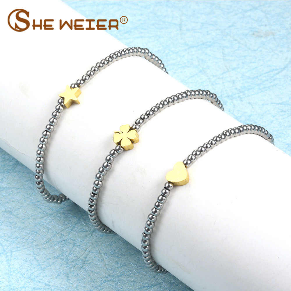 SHE WEIER heart beads bracelet stainless steel for women female femme accessories jewelry bracelets bangles charms silver gold