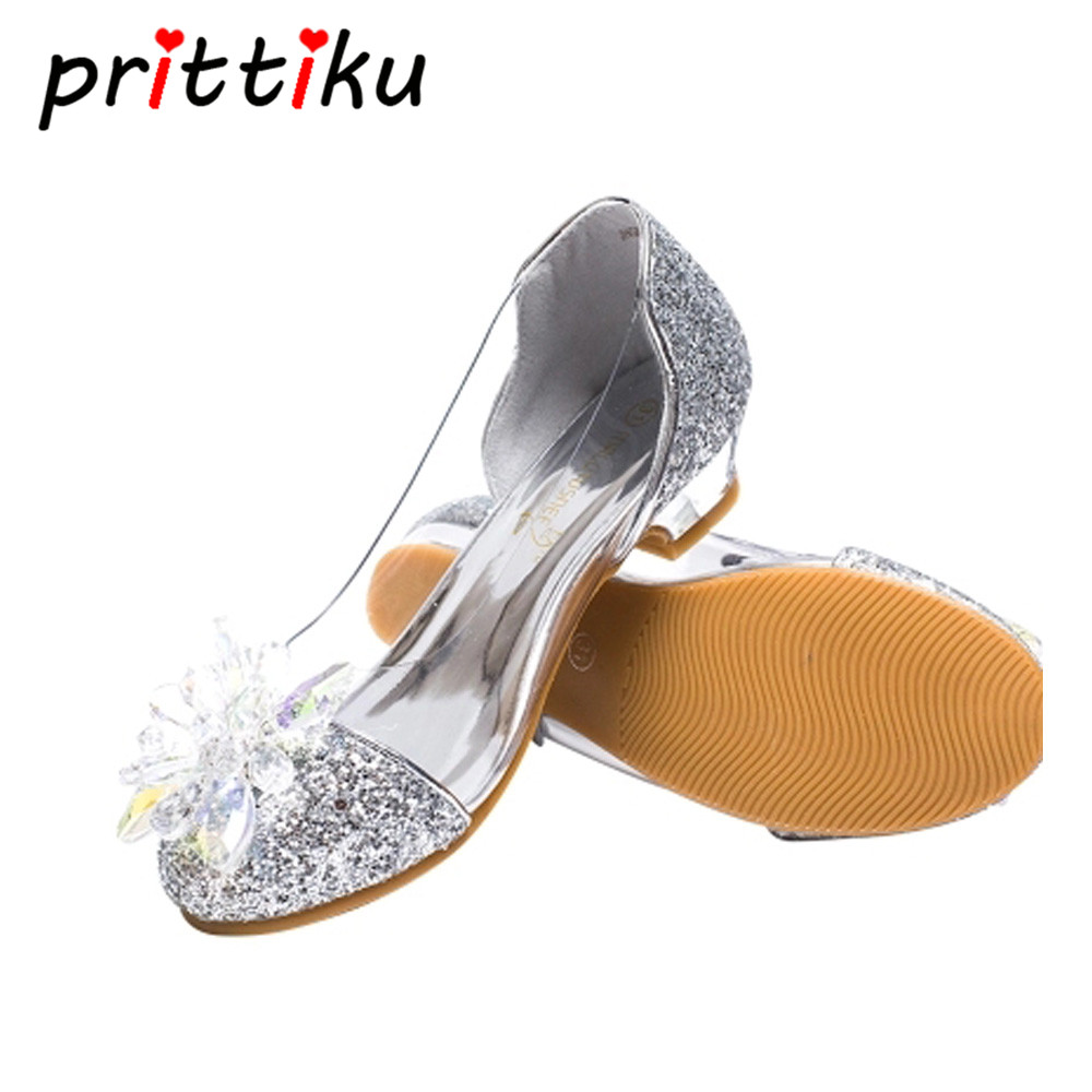 Toddler Child Crystal Glitter Flats Little Kid Low Heeled Pumps Big Girl Pageant Wedding Bridesmaid Dance Princess Dress Shoes