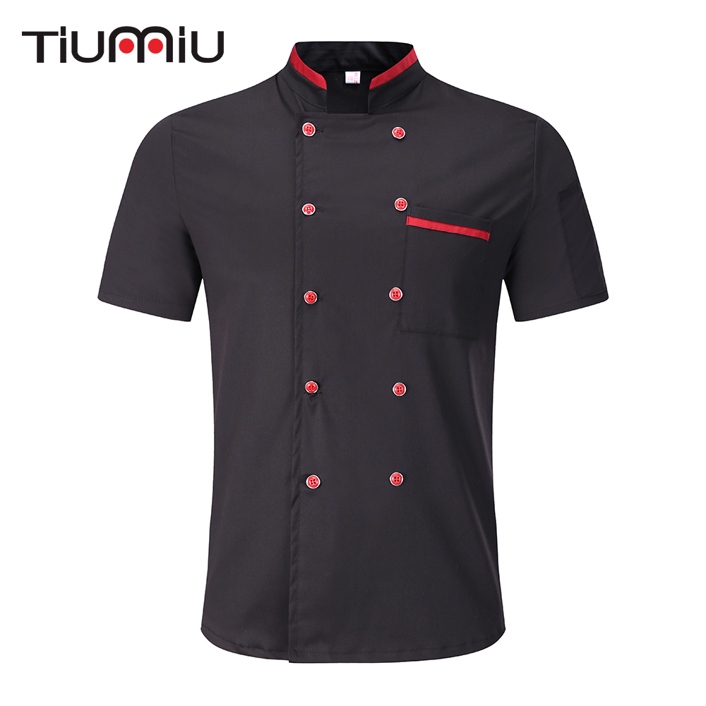 Black White M-3XL Wholesale Unisex Bakery Kitchen Cook Chef Jackets Short Sleeve Breathable Double Breasted Chef Uniform & Apron