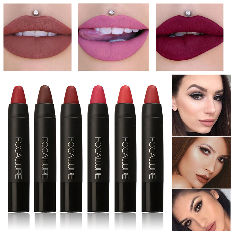 FOCALLURE Cosmetics Matte Lipstick High Gloss Lip Make Up Lips Crayons 24 hours Long Lasting Nude Women Waterproof Lipsticks