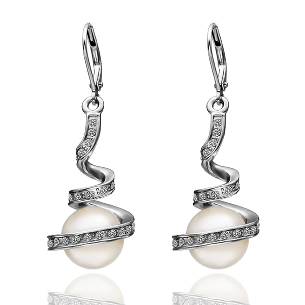 High Quality Wholesale Jewelry White Gold Color Crystal Pearl Dangle Ear Studs Earrings Ear Rings For Women WE012