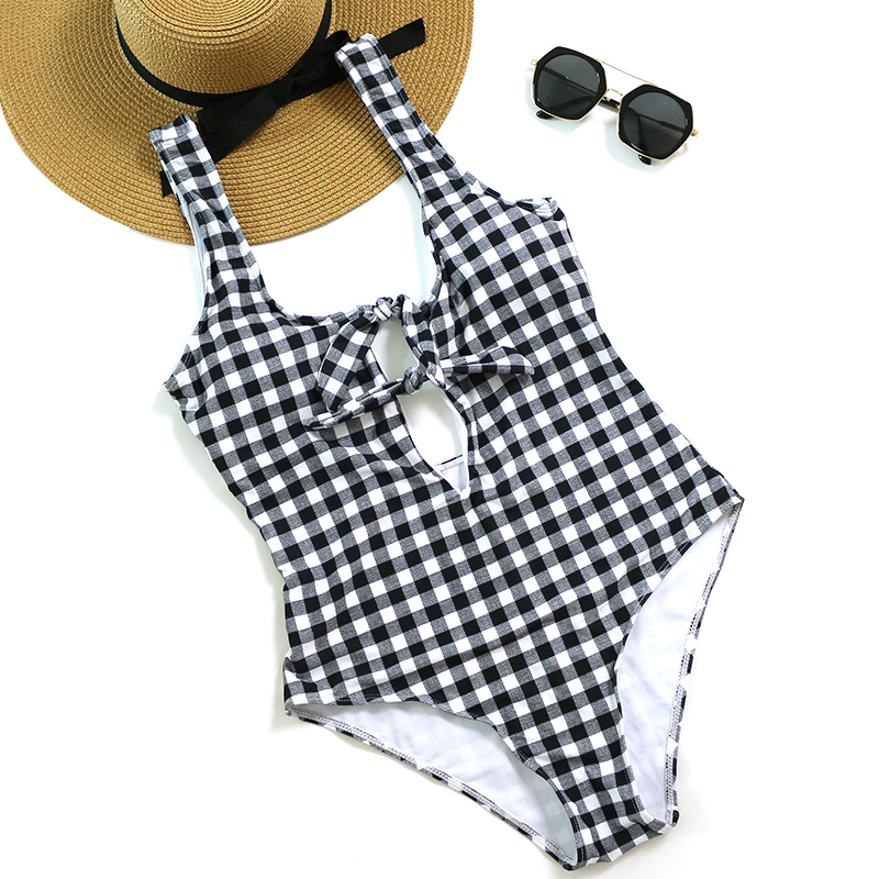 PLAVKY Sexy Retro Black White Plaid Front Knot Cut Out Trikini Bathing Suit Backless Monokini Swimwear Women One Piece Swimsuit