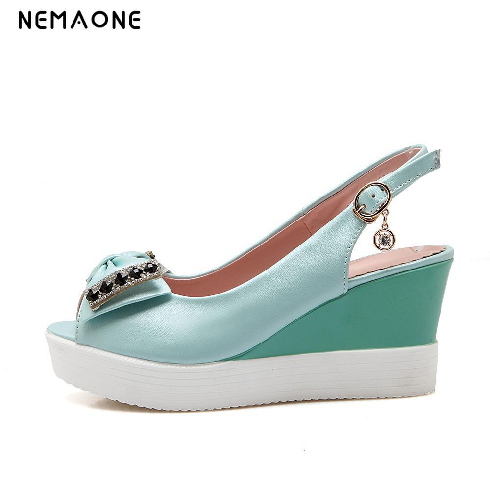 NEMAONE Wedge sandals female new 2017 summer high heels folk embroidery women's sandals peep-toe fashion big size 35-42 han edition diamond thick bottom female sandals 2017 new summer peep toe fashion sandals prevent slippery outside wear female