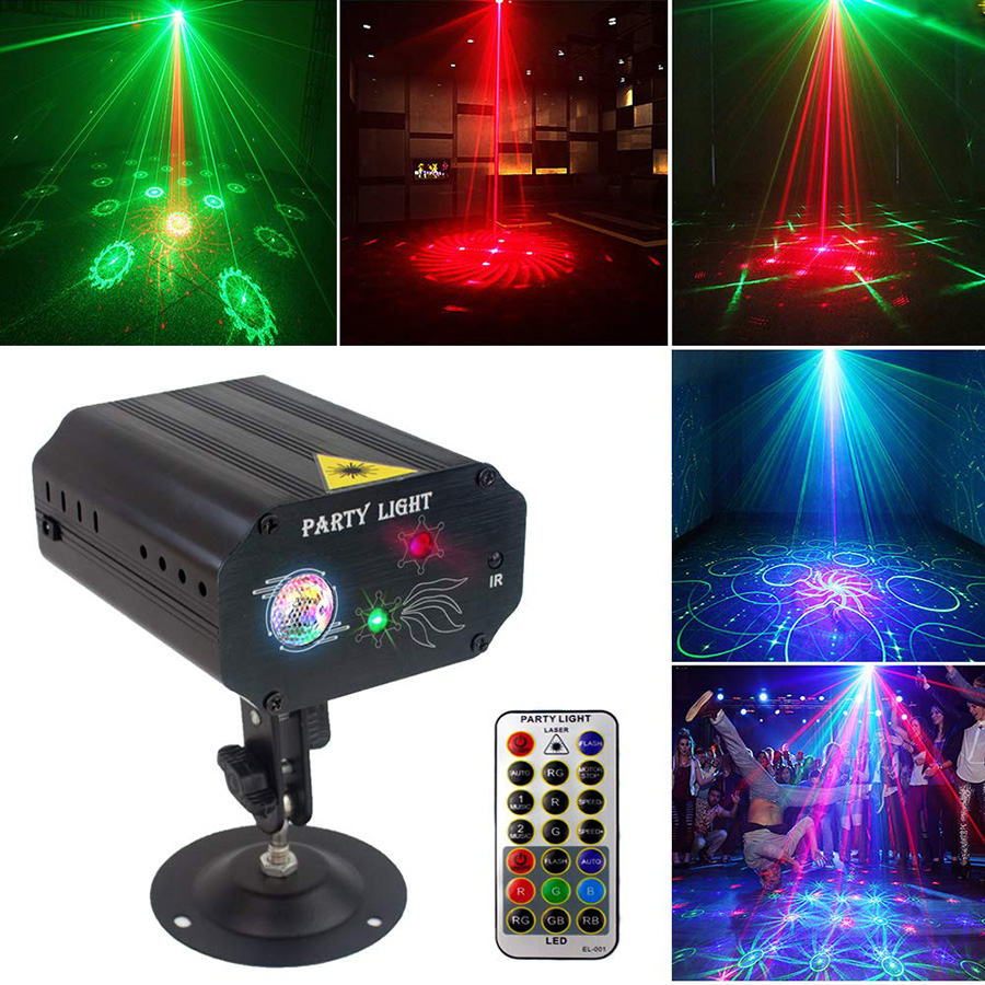 Mini IR Remote Red Green Christmas Laser Projector Lights 16 Patterns DJ KTV Home Party Dsico Strobe Light LED Stage Lighting