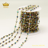 5meters Faceted Double Rice Glass Beads Chains Findings,4mm Rainbow Titanium Glass Wire Wrapped Plated Bronze Links Chains ZJ210
