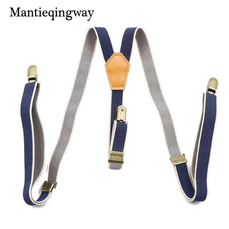 Mantieqingway Male Suits Vintage Striped Suspenders PU Leather Suspenders 3 Clip Skinny Belt Strap Adjustable Shirts Braces