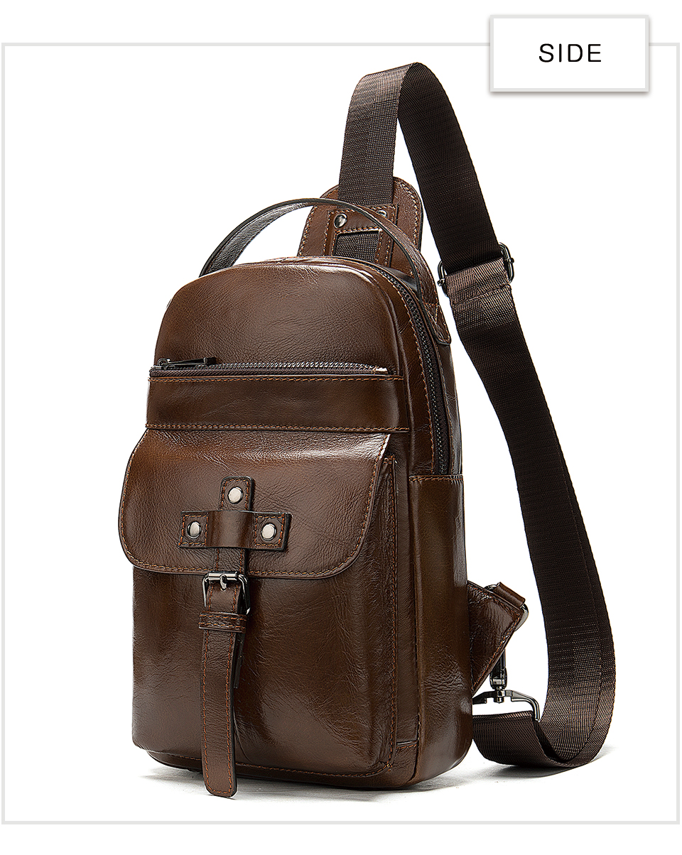 15 Men's Bag Leather Sling Bag Caual Men's Shoulder Bag Vintage Crossbody Bags for Men with Headphone Hole Travel Chest Pack