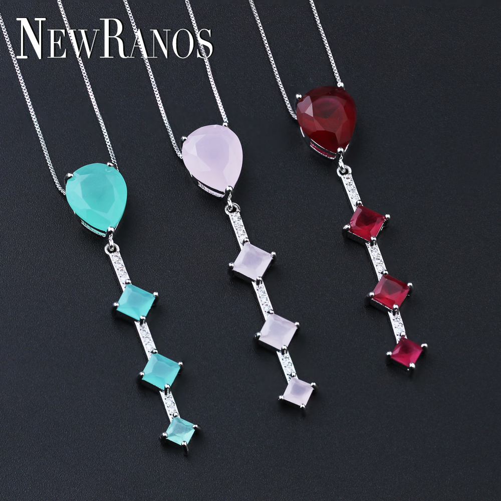 Newranos Milky Pink Pendant Necklace with Cubic Zirconia Water Drop Shape Fashion Women Jewelry Mothers Day Gift PGY029Newranos Milky Pink Pendant Necklace with Cubic Zirconia Water Drop Shape Fashion Women Jewelry Mothers Day Gift PGY029