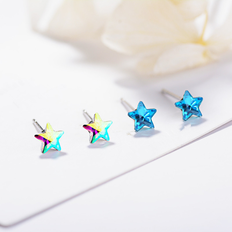 Everoyal Sterling Silver 925 Earrings Gifts For Female Hot Sale Jewelry Trendy Stars Girls Accessories Vintage Jewelry For Lady in Stud Earrings from Jewelry Accessories