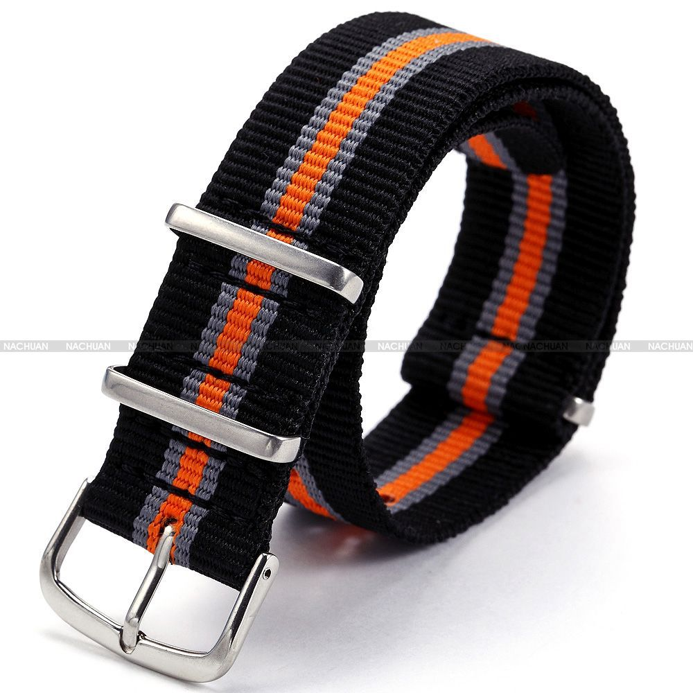 compare prices on orange watch band online shopping buy low price new 20mm black grey orange pattern nylon canvas fabric stainless steel buckle boy men s sport quartz