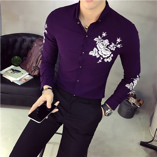 Stand Collar Shirts Designs : Stand collar shirts mens flower printing camisa slim fit