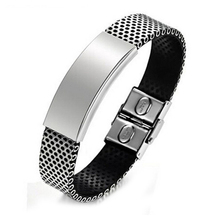 Fashion Men's Bracelet Vintage Charm Bangle Wristband Jewelry Design:14 #  black+Silver