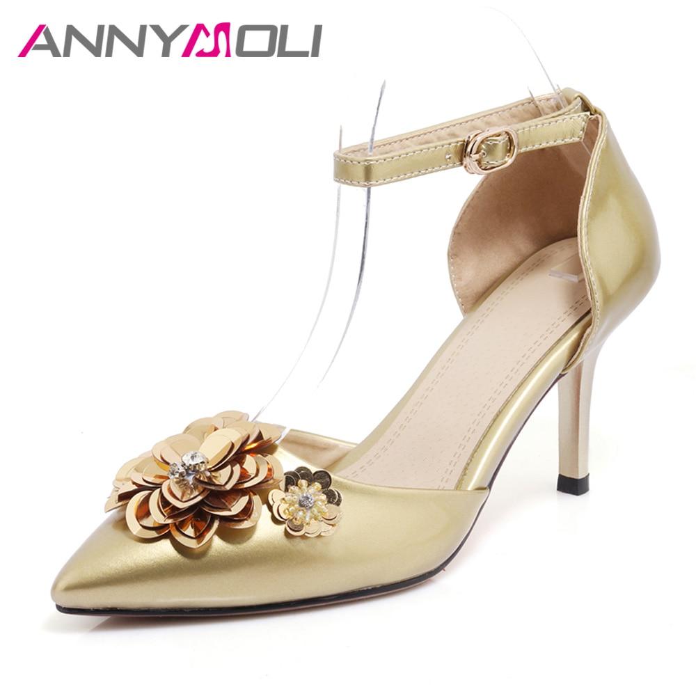 ANNYMOLI női cipő magas sarkú boka szíj női szivattyúk 2017 új őszi cipő arany cipő strasszos hölgy szivattyúk nagy méretű 33-42