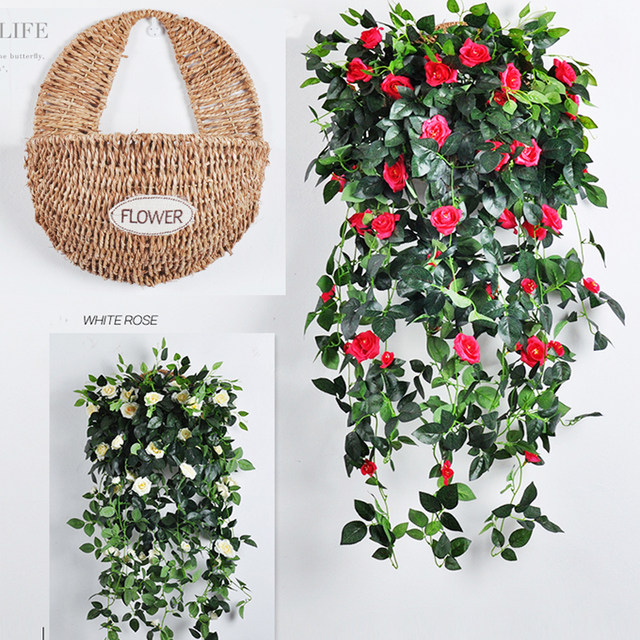 One Set Flower Ivy Set With Rattan Basket Wall Handed Decoration Vine  Artificial Flowers With Green Leaves For Home Wedding Part