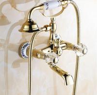 Antique Copper Diamond Shower Handle Phone Shower Faucet Gold Brass Chrome Shower Set Wall Mounted Ceramic Bottom Shower Set