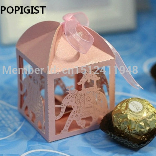 Elephant Laser Cut Hollow Carriage Favors Box Gifts Candy Boxes With