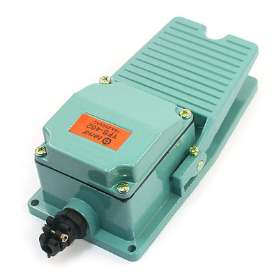 Green Nonslip Momentary Foot Pedal Treadle Switch 15A 250V SPDT NO NC TFS-402 ac 250v 15a nonslip no nc momentary single action foot switch green