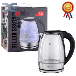 2L Water Kettle Glass Handheld Instant Heating Electric Water Kettle Auto Power-off Protection Wired Kettle HG-7818