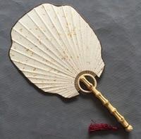 DIY color blanco en blanco ser dibujable Xuan papel artesanía de bambú fans Sprinkle farol de oro estilo abanico de palacio