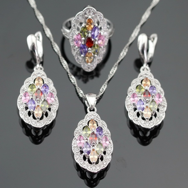 Made in China Multicolor Stones Silver Color Jewelry Sets For Women Necklace Pendant Drop Earrings Rings Free Gift Box