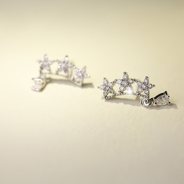 925 Sterling Silver Star Rhinestone Stud Earrings Women Charm Jewelry Free  Shipping (SE278) a14b7c1bb5cb