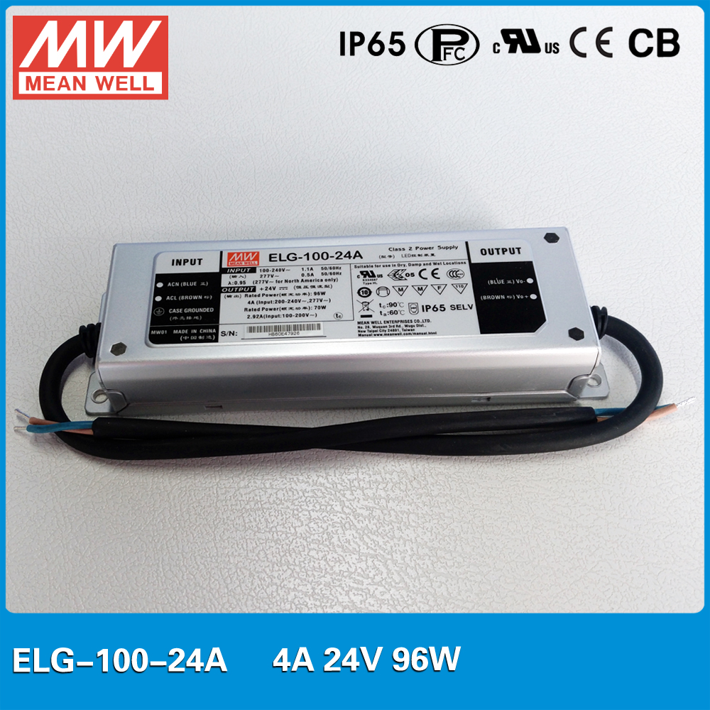 Original MEAN WELL Power Supply ELG-100-24A 96W 4A 24V Adjustable IP67 waterproof Led driver for outdoor led light 90w led driver dc40v 2 7a high power led driver for flood light street light ip65 constant current drive power supply