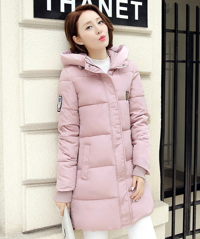 Winter Jacket Women Slim Female Coat Thicken Parka Down Cotton Clothing Red Clothing Hooded Student (6)
