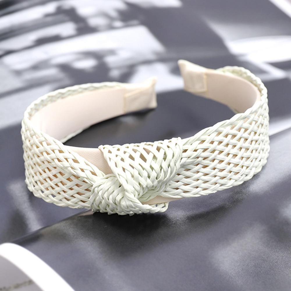 Bohemian Hairband Summer Straw Weaving Knotted Headband for Women Cross Handmade Hair Hoop Hairband Hair Accessories in Hair Jewelry from Jewelry Accessories
