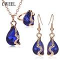 Cweel imitado colar de cristal brinco conjuntos de jóias para as mulheres banhado a ouro da festa de casamento vestido de acessórios de moda pingente