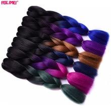 Feilimei Ombre Braiding Hair Extensions Synthetic Japanese Fiber Jumbo Braids 100g/pc 24Inch Green/Gray/Purple/Blue/Black Hair