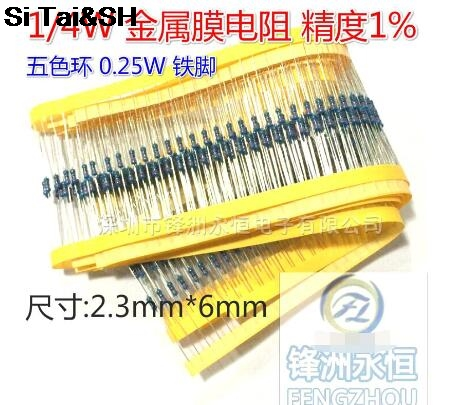 1/4 W Metal Film Resistor Is 10 K + - 1% Row With Colored Ring Precision 0.25 W (100 PCS /)