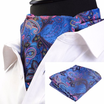 GUSLESON Fashion Brand Men Handkerchief Cravat Set Silk Paisley Pattern Gentlemen Dots Tie Wedding Ascot Bowtie