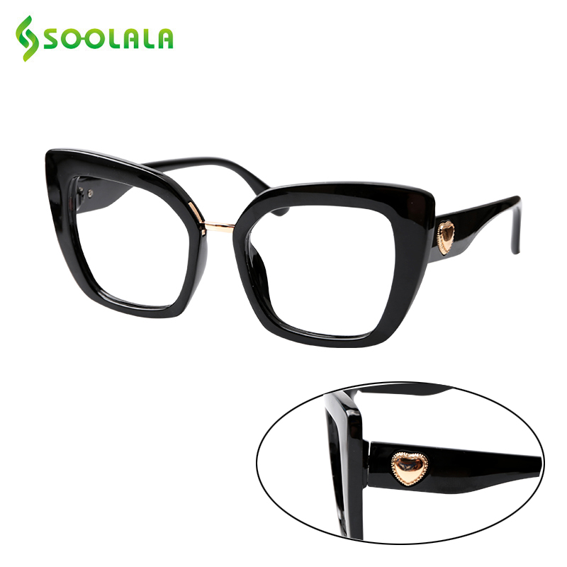 SOOLALA Sweet Cat Eye Square Reading Glasses With Heart Arms Women Hyperopia Presbyopia Eyeglasses +1.0 1.25 1.5 1.75 To 4.0