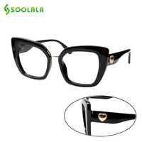 Soolala olho de gato doce óculos de leitura quadrados com coração braços mulheres hyperopia presbiopia + 1.0 1.25 1.5 1.75 a 4.0