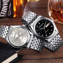 Парные часы для мужчин и женщин, стальные водонепроницаемые Kingnuos часы, мужские часы, светящиеся часы с датой, Hodinky для влюбленных, Relogio Feminino