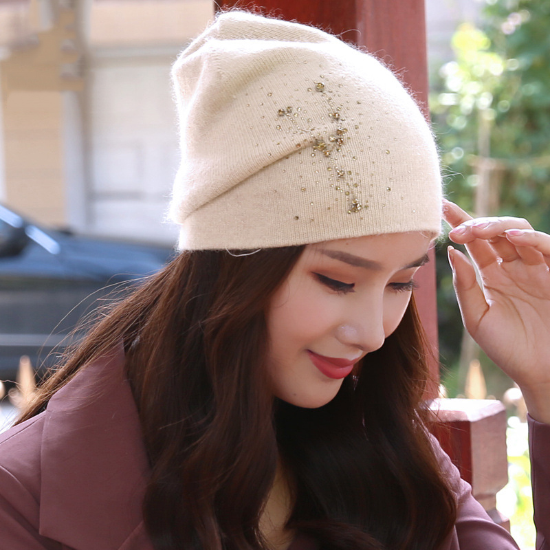Beanie Women Winter Angora Knit Hat Warm Rhinestone Headwear Soft Casual Slouch Stretchy Outdoor Ski Accessory in Women 39 s Skullies amp Beanies from Apparel Accessories